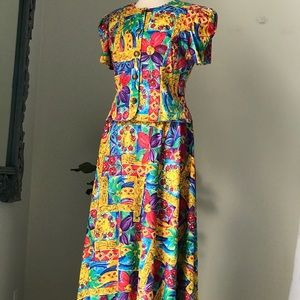Vintage Sabino Maxi Skirt / Button up Top Set